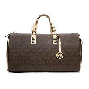 MK Signature Brown Grayson Weekender Duffle Bag